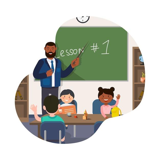 Stand De Professeur Au Tableau Noir. Montrez Le Pointeur à Bord Dans La Salle De Classe. Vecteur Premium
