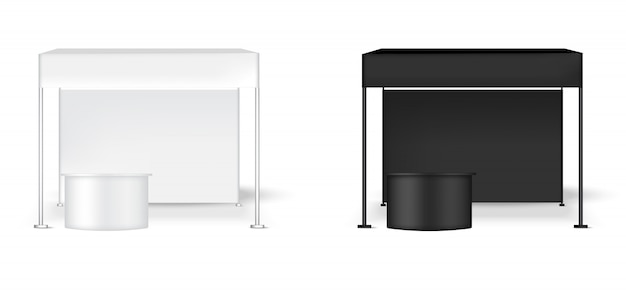 Stand réaliste de pop de mur d'affichage de la tente 3d avec la table Vecteur Premium