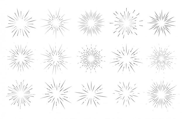 Star Burst, Sun Burst Sunshine. Rayonnant Du Centre De Faisceaux Minces, De Lignes. Vecteur Premium