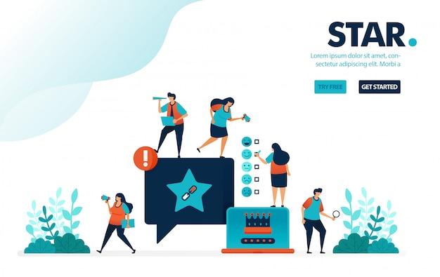 Star & satisfaction, classement en étoiles sur les commentaires de médias sociaux pour le niveau de satisfaction de l'utilisateur Vecteur Premium