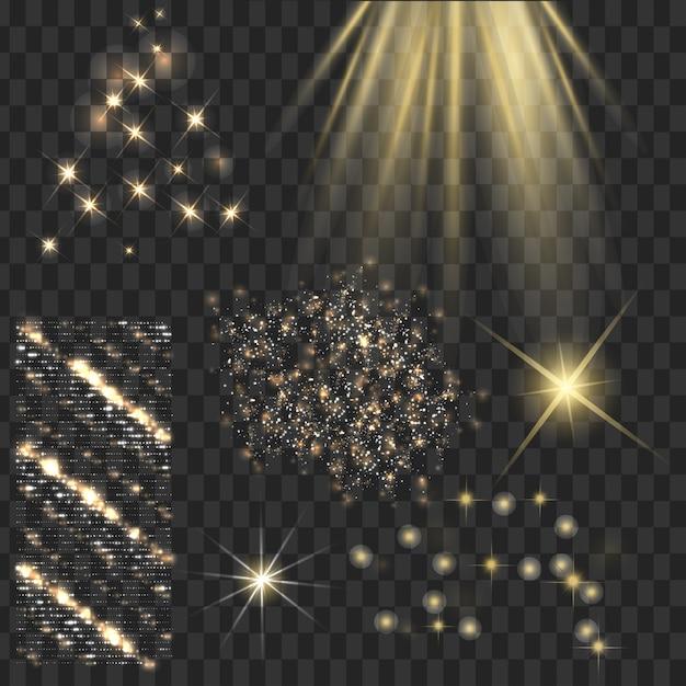 Les Stars Brillantes D'or Avec Des Brillants Brillent Vecteur gratuit