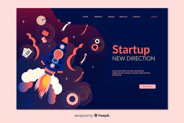 Startup new direction landing page Vecteur gratuit