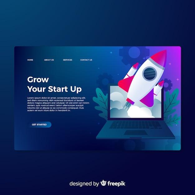 Startup page de démarrage avec une fusée Vecteur gratuit