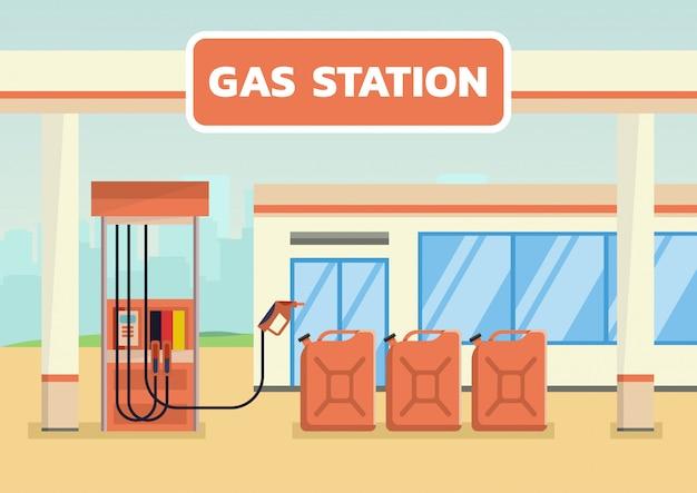 Station D'essence Avec Des Bidons D'essence Vecteur Premium