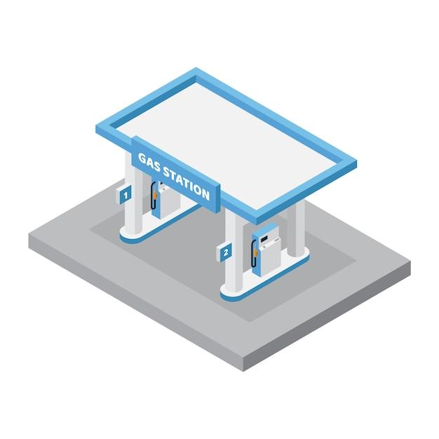 Station D'essence Isométrique Avec Vecteur De Machine à Carburant Vecteur Premium