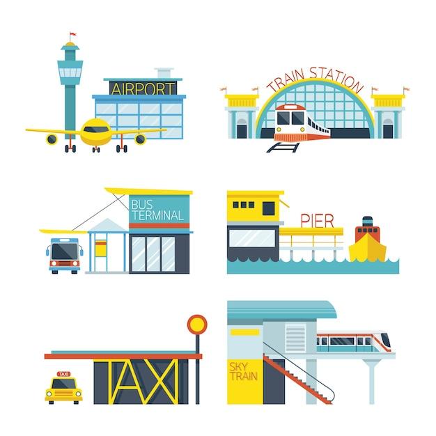 Station, Illustration Du Mode Des Objets De Transport Vecteur Premium