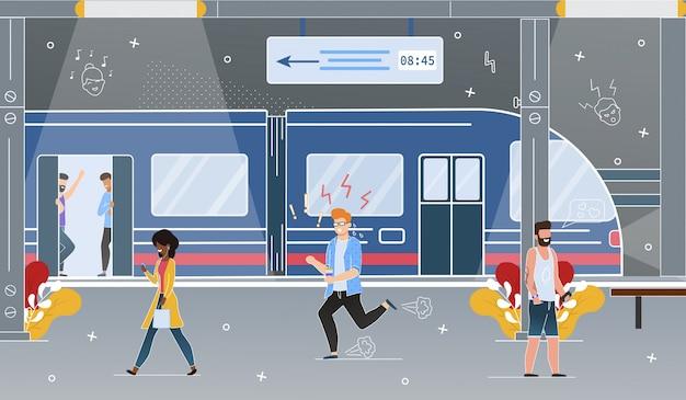 Station de métro city Vecteur Premium