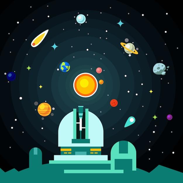 Station d'observation, système solaire avec planètes Vecteur gratuit