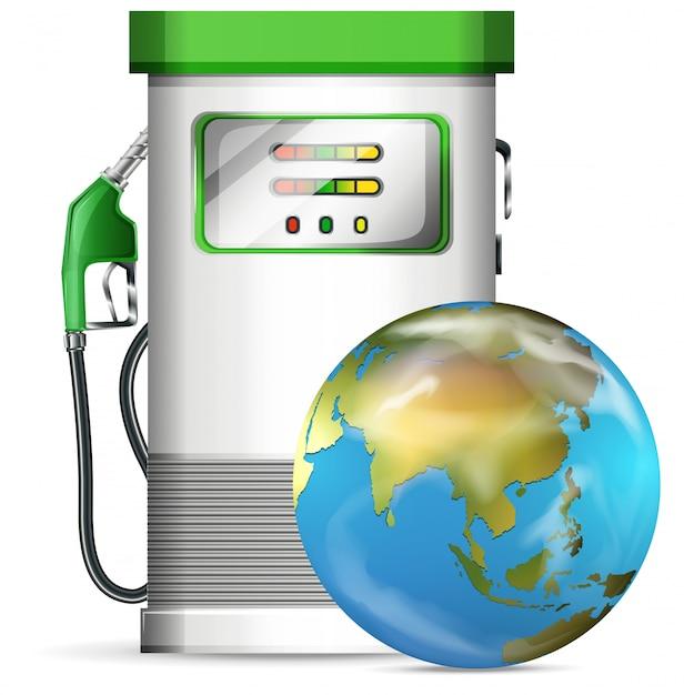 Station de pompage avec globe Vecteur Premium