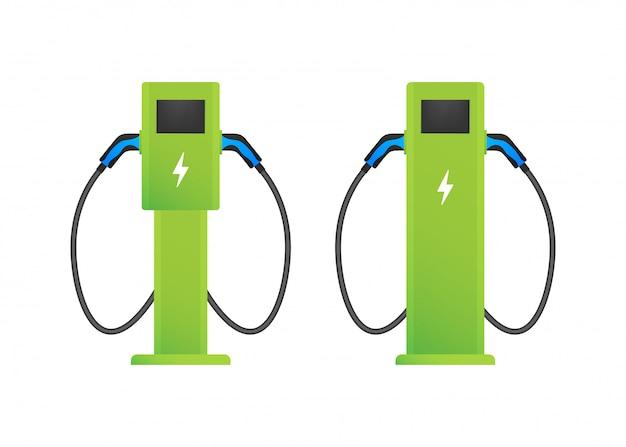 Station De Recharge Pour Véhicules électriques. Charge Ev Plate. Voiture électrique. Illustration. Vecteur Premium