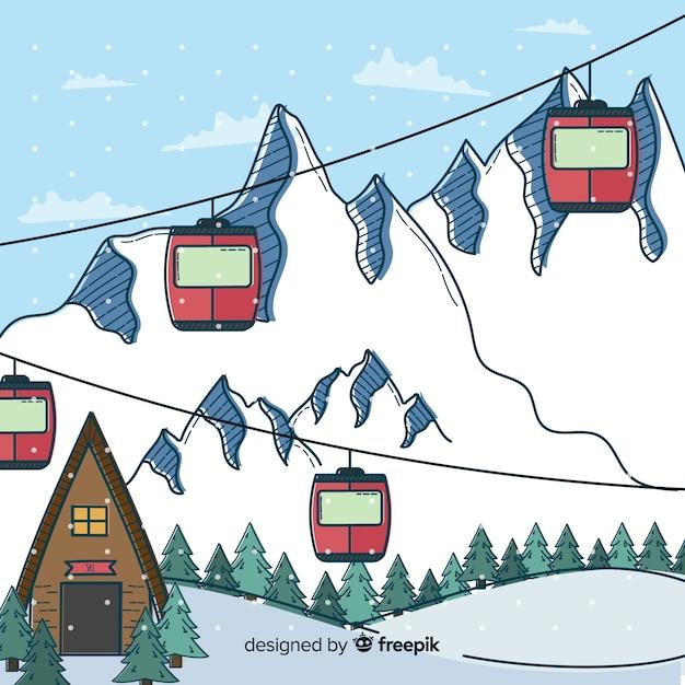 Station de ski dessinée à la main Vecteur gratuit