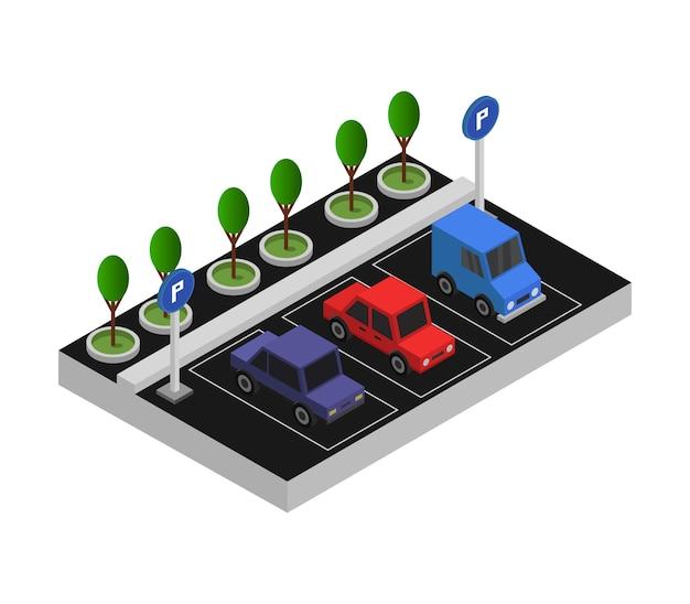 Stationnement Isométrique Vecteur Premium