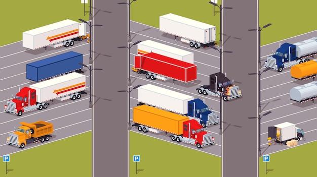Stationnement poids lourds Vecteur Premium