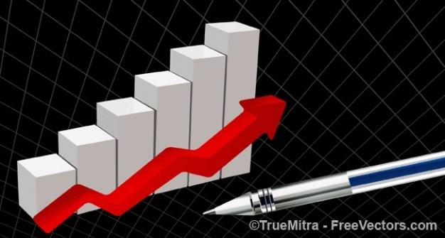 Statistiques sur les entreprises avec flèche rouge Vecteur gratuit
