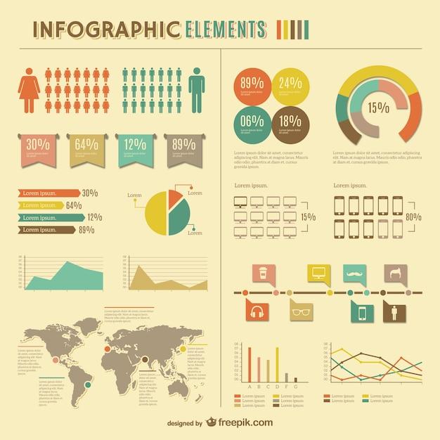 Statistiques mondiales infographiques conception libre Vecteur gratuit
