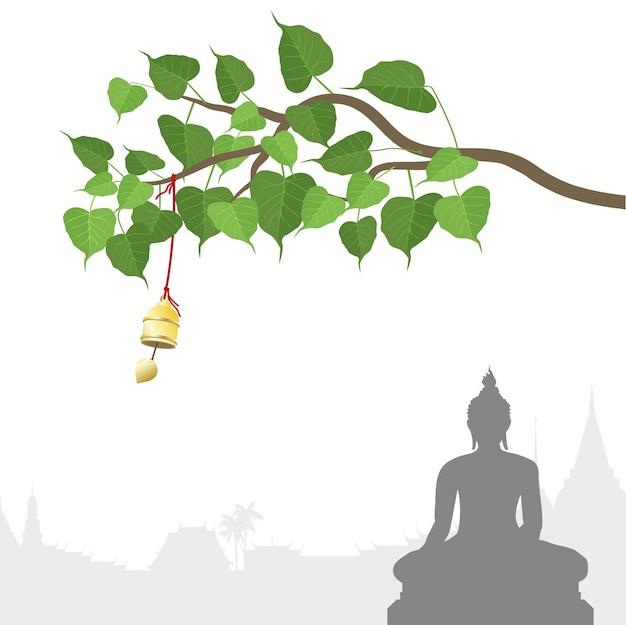 Statue de bouddha et arbre bodhi avec cloche d'or de la tradition thaïlandaise Vecteur Premium