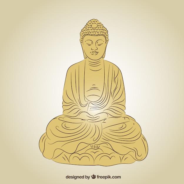 Statue de bouddha en couleur dorée Vecteur gratuit