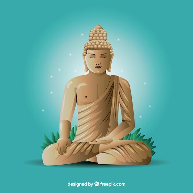 Statue de budha avec un design réaliste Vecteur gratuit