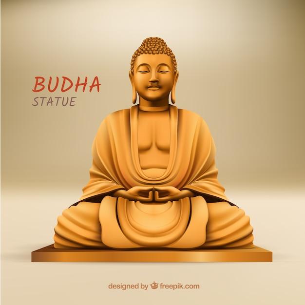 Statue de budha avec un style réaliste Vecteur gratuit