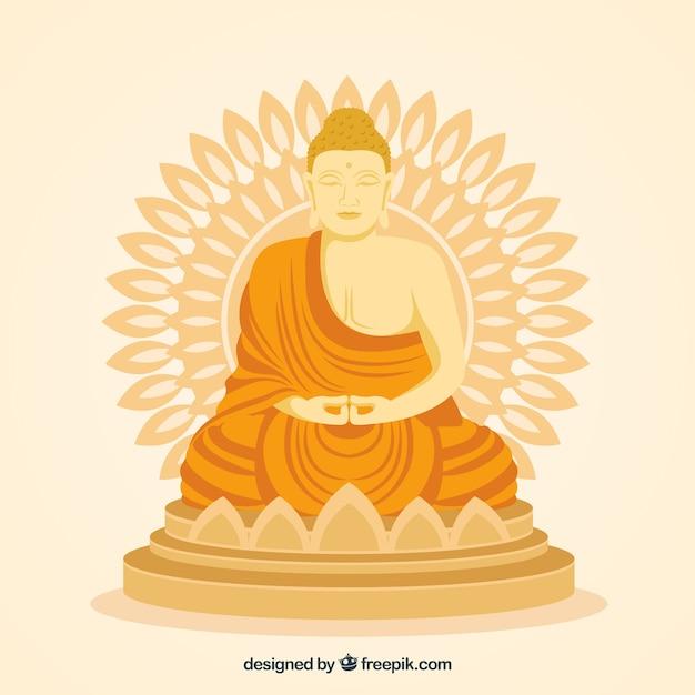 Statue dorée de budha avec un design plat Vecteur gratuit