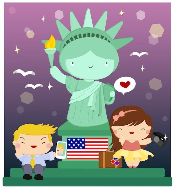 Statue d'enfants à la liberté Vecteur Premium