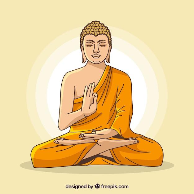 Statue De Fond De Bouddha Dans Un Style Plat Vecteur gratuit