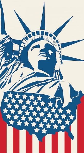 Statue de la liberté sur le fond Vecteur Premium