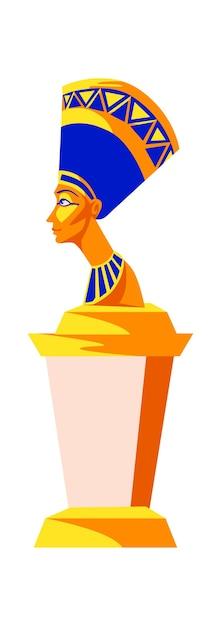 Statue De Néfertiti, Reine Femme Pharaon De L'égypte Ancienne, Illustration De Vecteur De Dessin Animé Vecteur gratuit