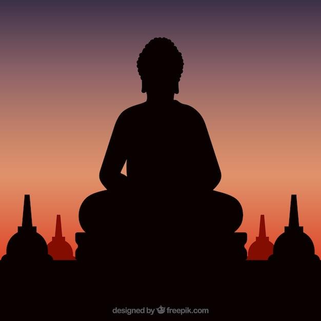 Statue de la silhouette de bouddha avec coucher de soleil Vecteur gratuit