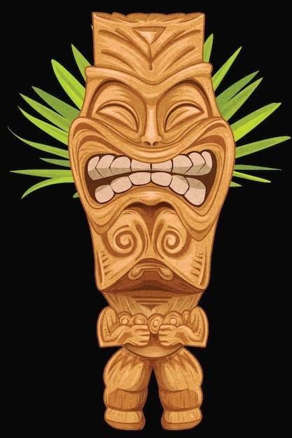 Statue tiki faisant le visage Vecteur Premium