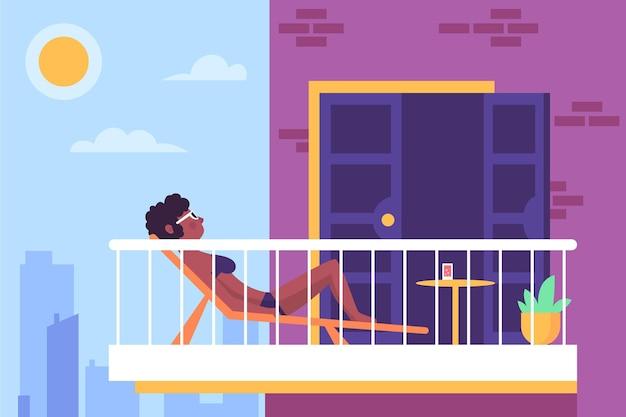 Staycation At Home Balcon Design Vecteur gratuit