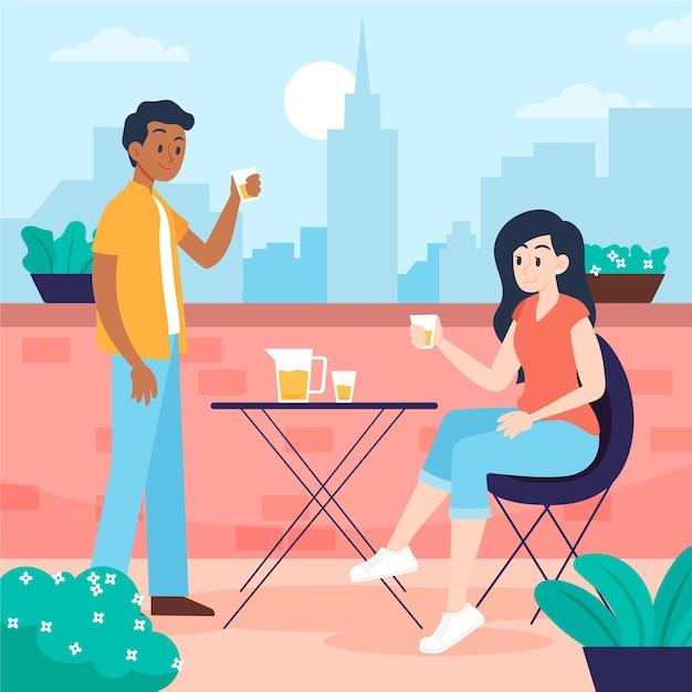 Staycation Couple Sur Une Terrasse Sur Le Toit Vecteur gratuit
