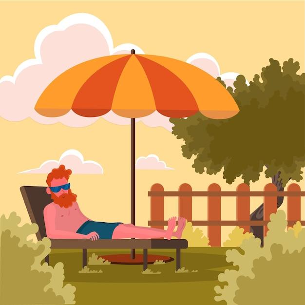 Staycation Dans L'arrière-cour Vecteur gratuit