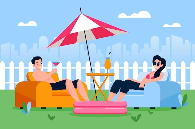 Staycation Dans Le Concept D'arrière-cour Vecteur gratuit