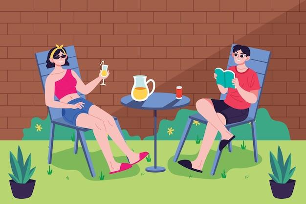 Staycation Dans La Cour Avec Femme Et Homme Vecteur Premium