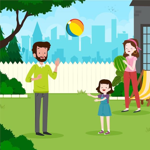 Staycation Dans L'illustration De L'arrière-cour Vecteur gratuit