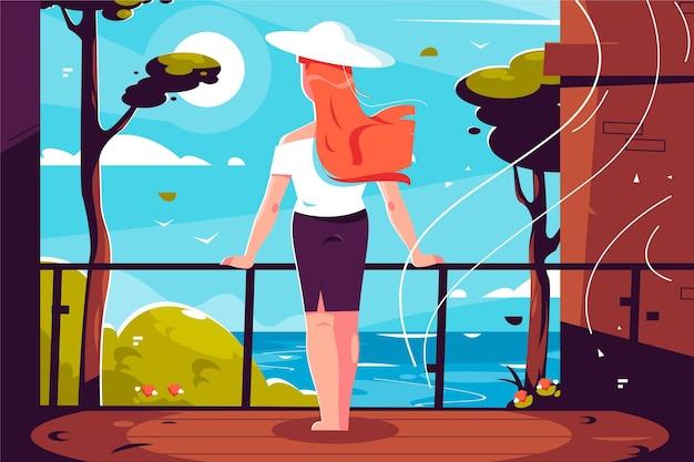 Staycation à La Maison Balcon Illustration Vecteur gratuit