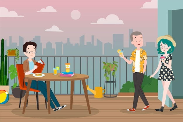 Staycation On The Rooftop Terrace New Scene Restaurant Vecteur gratuit