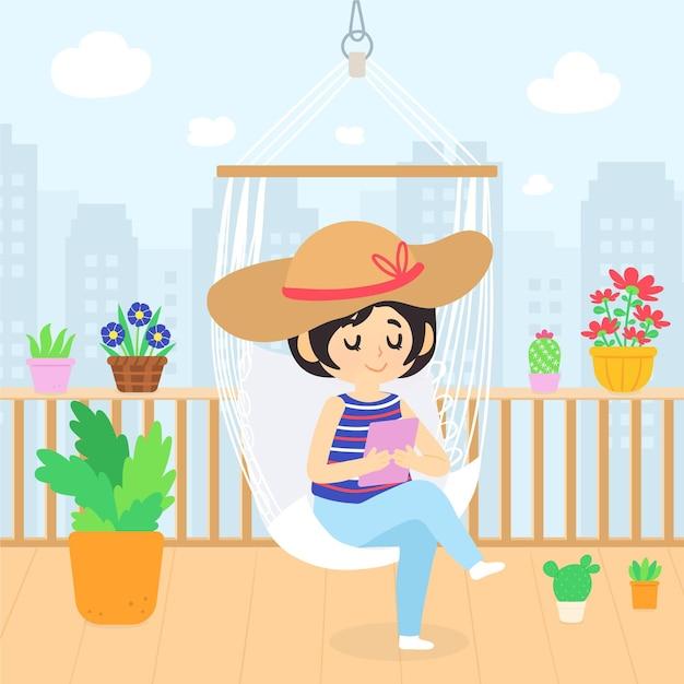 Staycation Sur Une Terrasse Sur Le Toit Vecteur gratuit