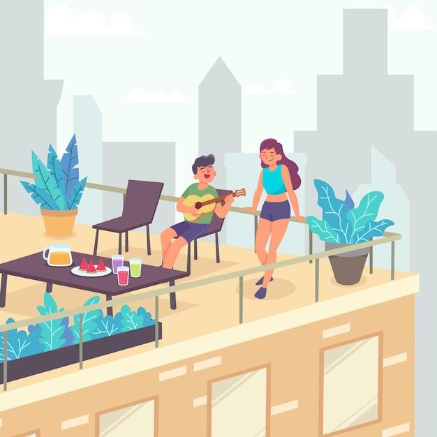 Staycation Sur Une Terrasse Sur Le Toit Vecteur Premium