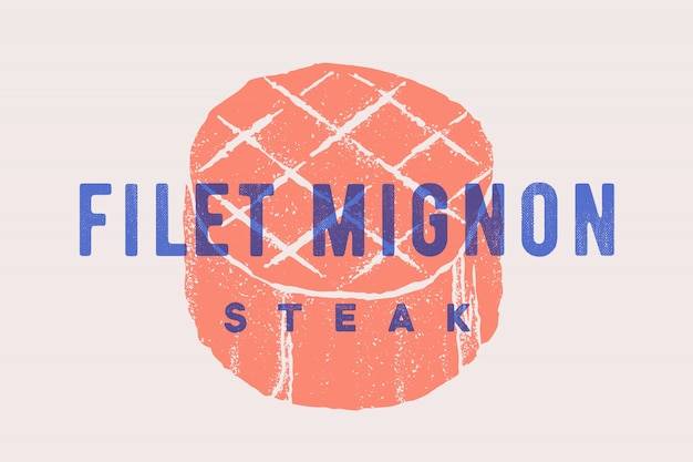 Steak, Filet Mignon. Affiche Avec Silhouette De Steak Vecteur Premium