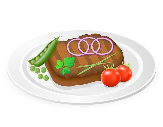Steak grillé avec des légumes sur une assiette. Vecteur Premium
