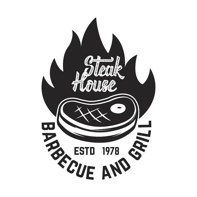 Steak House. Viande Coupée Et Couperets Croisés. élément Pour Logo, étiquette, Emblème. Illustration Vecteur Premium