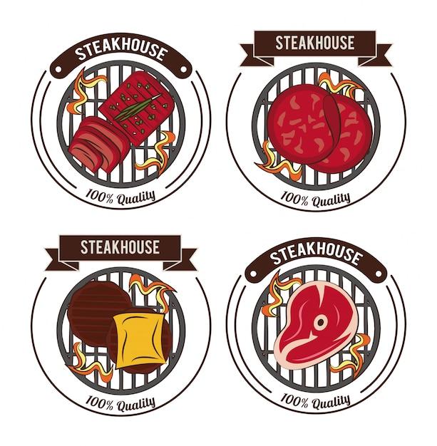 Steakhouse steaks emblèmes Vecteur Premium