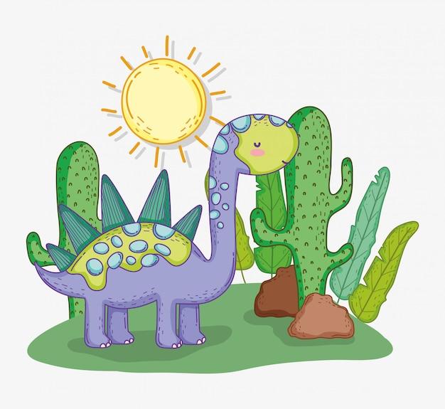 Stegosaurus Animal Mignon Avec Cactus Et Soleil Vecteur Premium