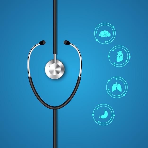 Stéthoscope et infographie. Vecteur Premium