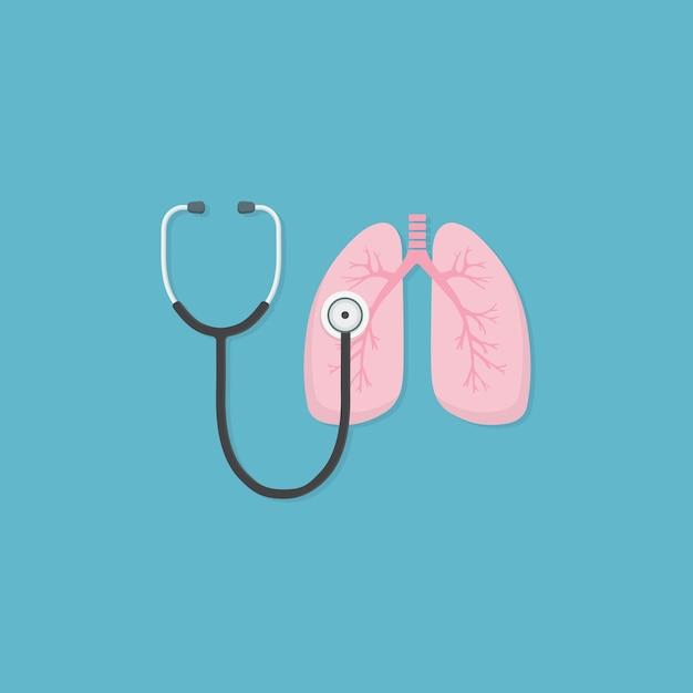 Stéthoscope Et Poumon Vecteur Premium