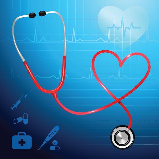 Stéthoscope de services de santé et illustration vectorielle symbole coeur Vecteur gratuit
