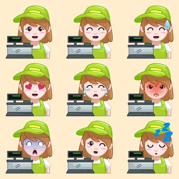 Sticker émoticône caissier Vecteur Premium