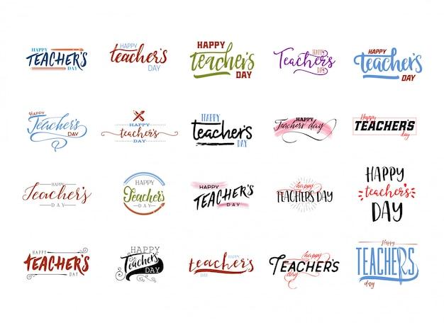 Sticker jour des profs heureux Vecteur Premium